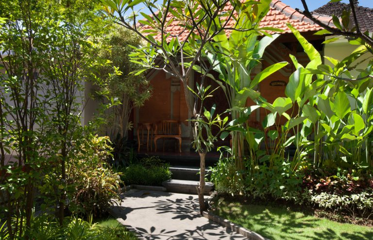 outside balinese bungalow of nesa sanur